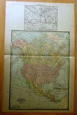 Antique Map 1886 NORTH AMERICA 21 X 13 1/2