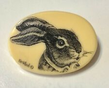Signed Artisan Scrimshaw Button Etched Inked Carved Resin Bunny Rabbit