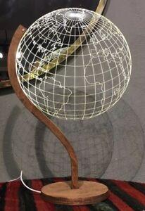 Globe - Plexiglass LED Light. Art Deco, Stylish, Desk, Home Office, Decorative
