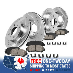 Front And Rear Drill Slot Brake Rotors +Ceramic Pads For 2004 - 2009 Kia Spectra