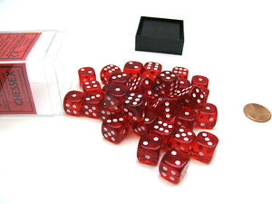 Translucent 12mm D6 Chessex Dice Block (36 Die) - Red with White Pips