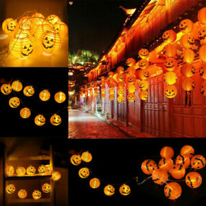 LED Halloween Pumpkin String Fairy Lights Party Decor Hanging Prop Lantern Lamp