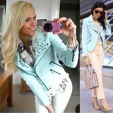 ZARA JACKET MINT PASTEL STUDDED COAT BLAZER LINEN BIKER ZIP SMALL - S
