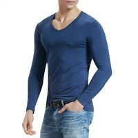 New Men's Casual Long Sleeve Modal Round Collar Slim Fit T-Shirt Top Undershirts