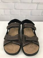 Dockers Men's Quarter Strap Leather Sport Sandals Brown Memory Foam Size 11 M