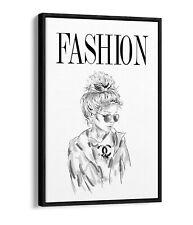 FASHION GIRL COCO -FLOAT EFFECT CANVAS WALL ART PIC PRINT- BLACK & WHITE