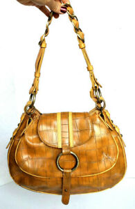 Tommy Hilfiger Beige Tan Croc Emobossed Faus Leather Chain Link Handbag Purse