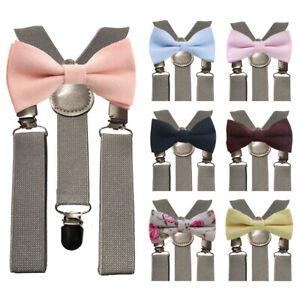 Children Kids Boys Matching Grey Braces & Luxury Cotton Bow Tie Set. Wedding. UK