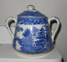 Semi China Blue / whit Sugar Bowl Engraved For W. Ridgway England Japanese scene
