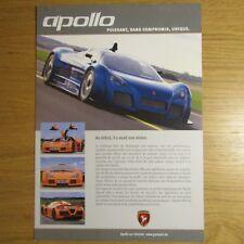 GUMPERT APOLLO 4.2 V8 Audi biturbo French Market Brochure Flyer c.2013