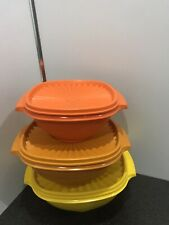 More details for tupperware set of 3 vintage astro servalier storage containers bowls with lids