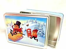 Vintage Christmas Holiday Sledding Winter Mr. Peanut Tin Metal Container Box EUC