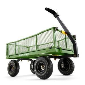 Gorilla Carts Steel Utility Cart 4 cu. ft. Removable Sides 4-Wheeled Design