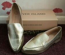 Cool River Island Gold Leather 'Croc' Style Darcy Slip On Loafers Shoes Sz 4/37.