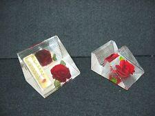 RARE Lot 2 vtg LUCITE hand carved rose desktop BUSINESS CARD + thermostat WORKS
