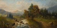 BACHMANN, Weite Alpenlandschaft mit Flusslauf und Hirten, 19. Jh., Öl