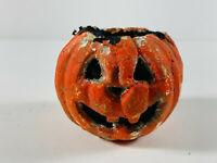 Antique Folk Art Halloween Paper mache Pumpkin Candy Container COOL