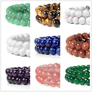 """Wholesale Natural 4/6/8/10/12mm Gemstone Round Spacer Loose Beads 15"""""""
