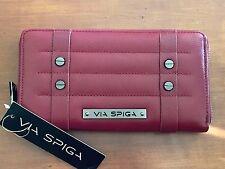 NEW VIA SPIGA Women Leather Zip-Around Clutch Wallet Sasha Wine / Burgundy NWT