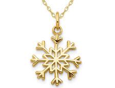 Copo de nieve encanto colgante de oro amarillo de 14K con cadena
