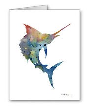 Blue Sail Fish Note Cards With Envelopes