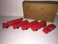 Vintage 1950's Post Cereal Plastic Toy Firetruck Set Mint in Mailing Boxes