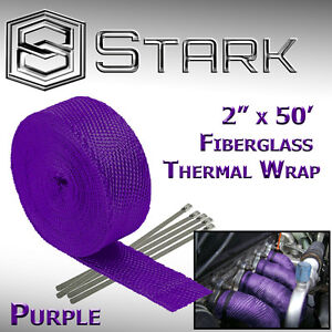 "2"" x 50FT Exhaust Header Fiberglass Heat Wrap Tape w/ 5 Steel Ties - Purple (VW)"