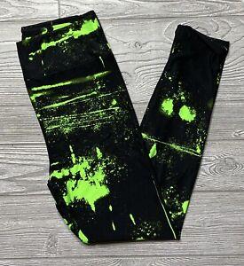 NEW LuLaRoe OS Halloween Leggings Black Neon Green Tie Dye Splatter One Size