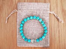 Silver Fish Charm, Turquoise Beaded Semi Precious Bracelet & Jute Gift Bag