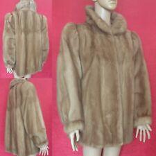 Real de piel de visón chaqueta de oscilación amanecer Pastel Visón puff mangas con valoración Reino Unido 14-16