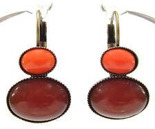 SoHo® Ohrhänger vintage böhmisches glas 1960´s orange coral rot dark bronze 60er