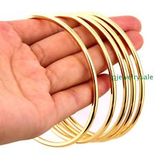 5pcs/Set Fashion Womens 68mm Stainless Steel Gold Tone 3mm Charm Bangle Bracelet