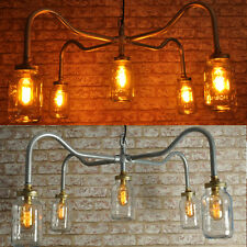 THE COOPER New Industrial Style 5 way Jar Chandelier Vintage Retro Lighting