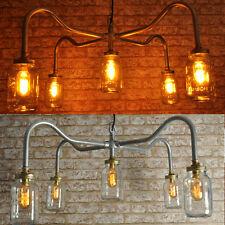 THE COOPER New Industrial Style 5 way Jar Chandelier Vintage Retro Lighting