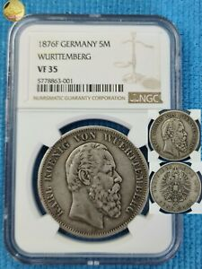 Germany Empire 5 Mark 1876 F WURTTEMBERG NGC VF35  Silver coin KM#623 RRR