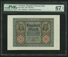 Germany : 100 Mark 1920 ; PMG : Superb Gem UNC 67 ; EPQ