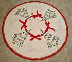 Vtg Felt Christmas Tree Skirt Table Topper Noel Sequin Embroidered Fringe Ribbon