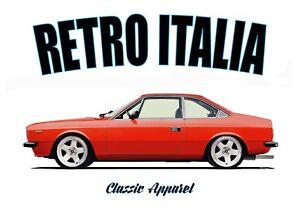 LANCIA BETA COUPE t-shirt. RETRO ITALIA. CLASSIC CAR. MODIFIED CAR.