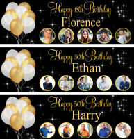 2ftx6ft Personalised birthday banners photo glitter adults children party poster