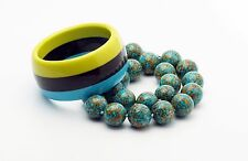 Chunky Blue Mosaic Turquoise Round Bead Necklace Striped Lucite Bangle Bracelet