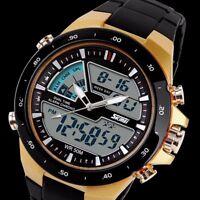 Fashion Contrast Gold Analog Quartz Chronograph Alarm Waterproof Digital Watch