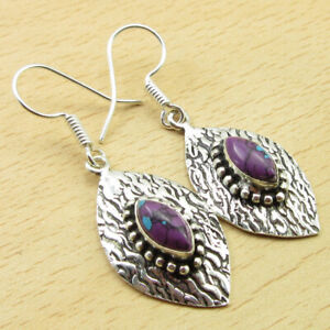 """Latest Style 925 Silver Plated Purple Copper Turquoise Earrings 1.9"""" Jewelry"""