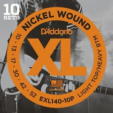 D'Addario Nickel Electric Guitar Strings, Light Top/Heavy Bottom, 10-52, 10 sets