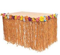 Hibiscus Tropical Flowered Raffia Table Skirt pool luau DECORATIONS Tiki Bar