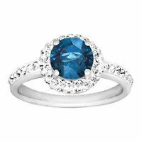 Crystaluxe September Ring with Royal Blue Swarovski Crystals in Sterling Silver