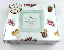 Kids Rule Twin Sheet Set Fast Foods Popcorn Pizza Fries Hamburger Boy Girl Fun