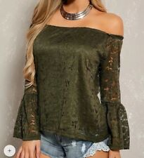 SEXY OLIVE CROCHET OFF THE SHOULDER LONG SLEEVE CASUAL WOMENS TOP