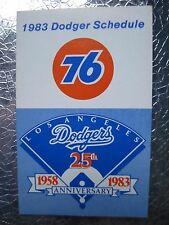 1983 LOS ANGELES DODGERS POCKET SCHEDULE 25TH Anniversary 1958 to 1983 Vintage