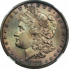 1878 P 7/8 TF MORGAN DOLLAR NGC AND CAC UNDER GRADED MS-63 AMAZING RICH COLORS