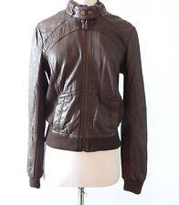 Idra Gorgeous Dark Brown Leather Bomber Jacket Anthropologie Sz - S